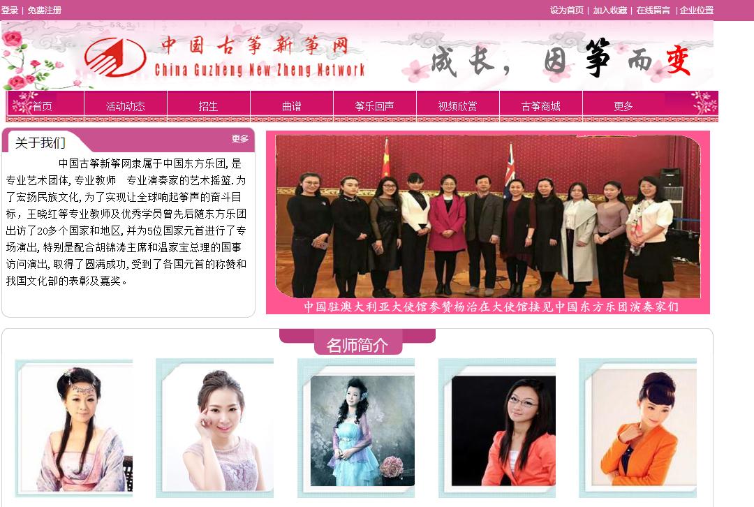 中国古筝新筝教育网站建站案列